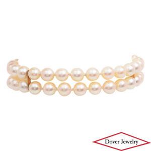 Estate Pearl 14K Gold 2 Row Bracelet 18.2 Grams NR