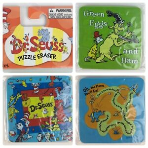 Dr Seuss Puzzle Eraser Dr Seuss Erasers Lot of 3 New Cat In The Hat Green Eggs &