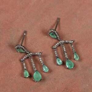 925 Sterling Silver Emerald Gemstone Pave Diamond Party Wear Drop Dangle Earring