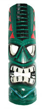 TIKI Mask Wooden Wall Plaque 50cm Hand Carved Painted SURFER/ MAORI STYLE GREEN