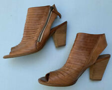 Paul Green Cayanne Booties 5.5 UK (US 8) Strappy Brown Leather Shoes Chunky Heel