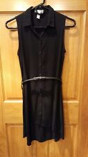 Ambiance Apparel- Long Sleeveless Button Up Collared Dress Size Small With Belt