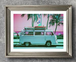 VW Campervan Print, Pop Art Print, California Campervan Poster, VW Poster