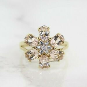 9ct Yellow Gold Morganite Cluster Ring (Size N, US 6 3/4)