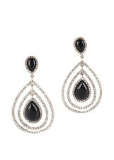 NEW RARITES Sterling Silver Black Onyx Zirconia Dangle Earrings $530
