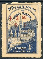 TIMBRE FRANCE VIGNETTE 1° PELERINAGE DE L'ARMEE FRANCAISE LOURDES 1944 SURCHARGE