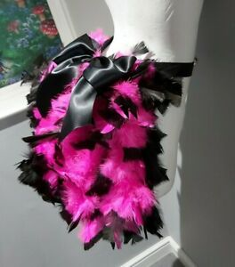 Feather Bustle. Two Tone Pink And Black