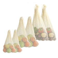 Organic Cotton Vegetable Bags - Set of 6 Reusable Cotton Produce Bags M&W