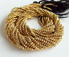 "12.5"" strand gold coated PYRITE faceted gem stone rondelle beads 2mm"