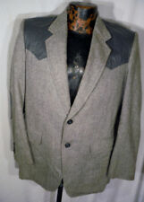 Vintage Herringbone Rockabilly Wool? 2 Button Blazer Jacket Mens 36 Leather Trim