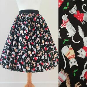 1950s Circle Skirt Christmas Cats All Sizes - Festive Kitty Jumper Holly Print