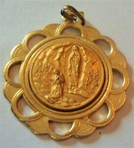 Vintage Lourdes Medal Gold-Tone Metal