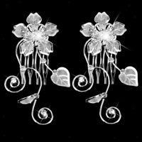 Wedding Bridal Hair Comb Clip Crystal Silver Flower Leaf Diamante Party