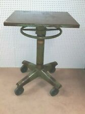 Large Vintage  Industrial  Iron and Steel  Pedestal  Table  From Print  Shop