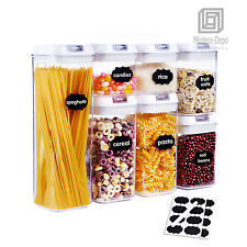 7pcs Food Storage Container with Lid Airtight Kitchen Plastic Canister BPA Free