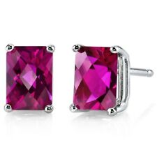 2.57 ct Radiant Cut Red Created Ruby Stud Earrings in 14K White Gold