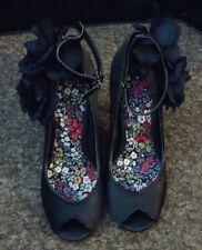 "Dorothy perkings Black peep toe side black flower 3.6"" heel Stiletto Shoe Uk - 3"