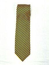 Neiman Marcus Gold /Blue Striped Silk Classic Neck Tie  Italy