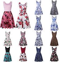 Women Sleeveless Leopard Print Summer Beach A Line Casual Dress Party Dress