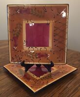 Set Of TWO Large Square Platters Romance By Nanette Vacher~Ambiance Collection