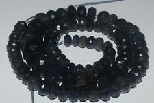 250 CARTS 6.5to11MM NATURAL GEMSTONE IOLITE FACETED RONDELLE BEADS STARND #977