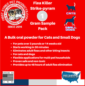 Flea killer Powder for cats and dogs lasts 48hrs 1 gram pack, fast acting