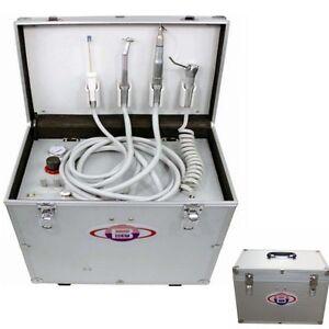 Portable Dental Unit Metal Mobile Case 4 Holes +Built-in Air Compressor 110V