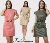 Women's Padded Shoulder Leather Belted Party Club wear Ladies Bodycon Mini Dress