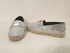 Robert Clergerie Etoile Womens Shoes 37 6.5 Silver Cracked Leather Espadrilles