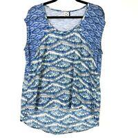 Anthropologie Akemi Kin Womens Top Size Small S Blue Scoop Neck Geometric Print