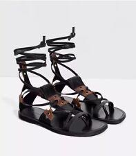ZARA black & Tan Cuir Véritable Roman Gladiator Sandales Plates Chaussures Taille UK 7 EU 40