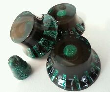 3 Guitar top hat volume/tone knobs & switch tip. Green Flake/Black  (Strat)  JAT