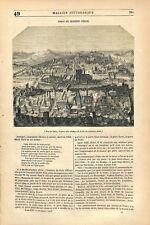 Panorama Paris estampe du seizième siècle Métamorphose Grenouille GRAVURE 1845
