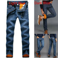 Men Winter Thermal Jeans Fleeced Lined Denim Long Pants Casual Warm Trouser