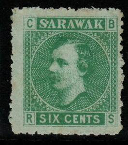 SARAWAK SG5 1875 6c GREEN/GREEN UNUSED AS ISSUED