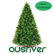 7FT 2.1M Green Xmas Christmas Tree Bushy Mixed PET&PVC Leaves Metal Stand