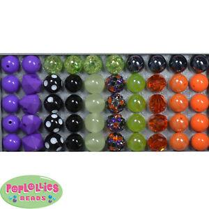 12mm Halloween Medley Acrylic Mixed Style Bubblegum Beads Lot 50 pc.chunky