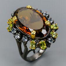 Handmade35ct+ Natural Cognac Quartz 925 Sterling Silver Ring Size 8/R112673