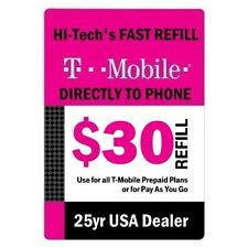 $30 T-MOBILE PREPAID FASTEST DIRECT ONLINE REFILL 25yr USA TRUSTED DEALER