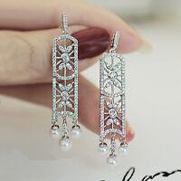 Boucles d'Oreilles Clous Argenté Chandelier Art Deco Perle Mariage Filigrane P1