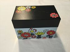 Mid-century unused Ohio Art recipe tin box Retro Hippie Flower Power