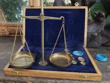 Antique Apothecary Jewelry Scales Complete Weights Lined Box Made in Raj India
