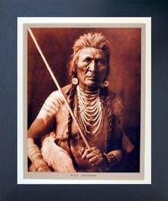 Wolf - Apsaroke Indian Warrior Native American Wall Art Espresso Framed Picture
