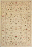 7X10 Hand-Knotted Oushak Carpet Traditional Beige Fine Wool Area Rug D46500