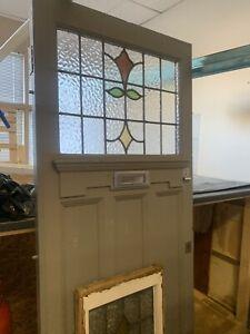 VICTORIAN GLAZED WOOD FRONT DOOR...[BEAUTIFUL COLOURED GLASS]