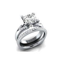 Engagement bridal ring sets 3.26cts white round cut prong diamond 14k white gold