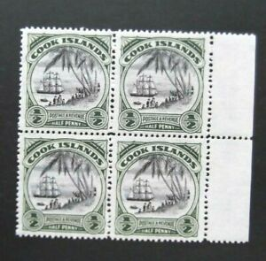 Cook Islands-1932-1/2 Penny Green-Landing of Capt Cook-Block of 4-MNH