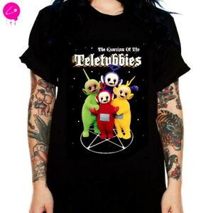 Pentagram Exorcist Teletubbies Banned Black Gothic Punk Harajuku Grunge T Shirt