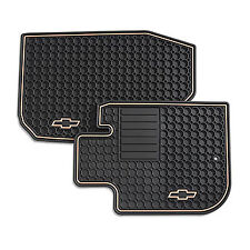 2005-2010 Chevy Cobalt Front Custom Vinyl Floor Mats Ebony with Gold Bowtie Logo