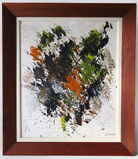 1971 SIGNED D. BERNIER ABSTRACT EXPRESSIONISM ACTION ART OIL PAINTING EAMES ERA